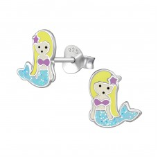 Mermaid - 925 Sterling Silver Colorful ear studs for kids A4S39391