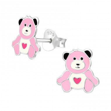 Bear - 925 Sterling Silver Colorful ear studs for kids A4S39392