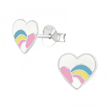 Heart - 925 Sterling Silver Colorful ear studs for kids A4S39393