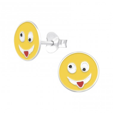 Crazy Face - 925 Sterling Silver Colorful ear studs for kids A4S39398