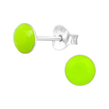 Round - 925 Sterling Silver Colorful ear studs for kids A4S39425