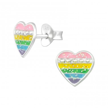 Heart - 925 Sterling Silver Colorful ear studs for kids A4S39457