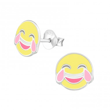 Tears Of Joy Emoji - 925 Sterling Silver Colorful ear studs for kids A4S39570