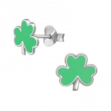 Shamrock - 925 Sterling Silver Colorful Ear Studs For Kids A4S39571