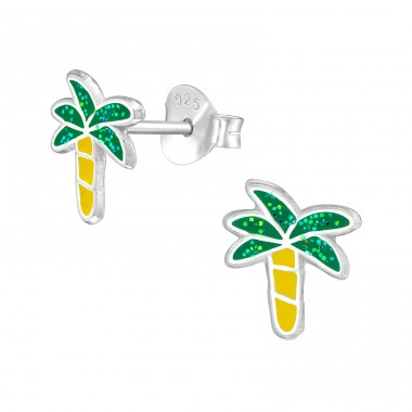 Coconut Tree - 925 Sterling Silver Colorful ear studs for kids A4S39572