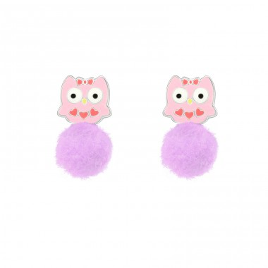 Owl - 925 Sterling Silver Ear studs with enamel colors A4S39631