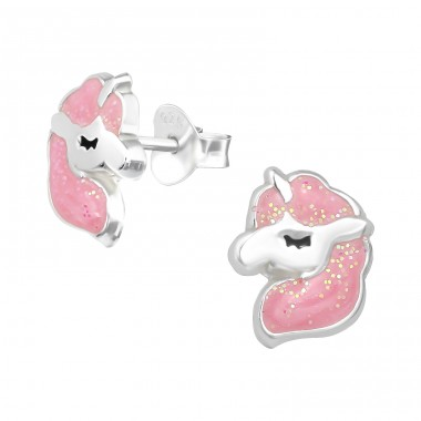 Pink Unicorn with glitter - 925 Sterling Silver Colorful Ear Studs For Kids A4S39817
