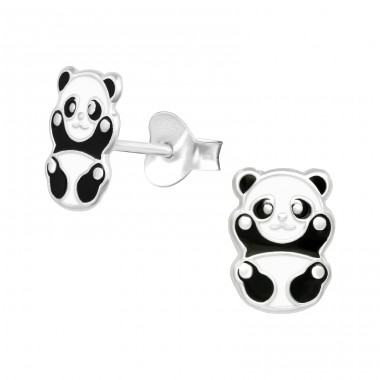 Panda bear - 925 Sterling Silver Colorful Ear Studs For Kids A4S39818