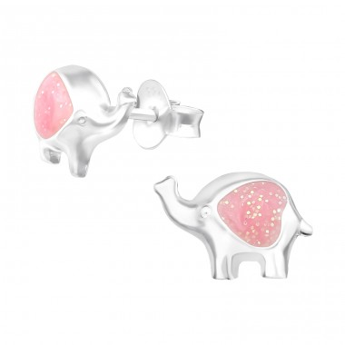Elephant - 925 Sterling Silver Ear studs with enamel colors A4S39827
