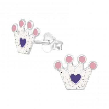 Crown with glitter - 925 Sterling Silver Colorful Ear Studs For Kids A4S39839