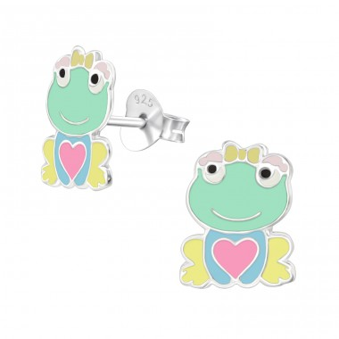 Lady Frog with heart and bow tie - 925 Sterling Silver Colorful Ear Studs For Kids A4S39840