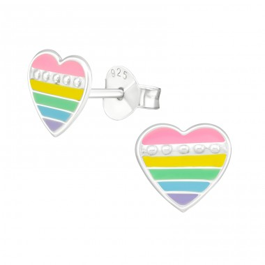 Multicolor Heart - 925 Sterling Silver Colorful Ear Studs For Kids A4S39851