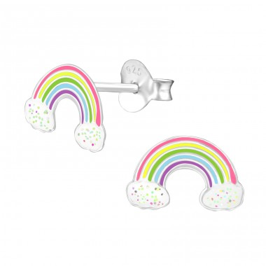 Rainbow - 925 Sterling Silver Colorful ear studs for kids A4S39855