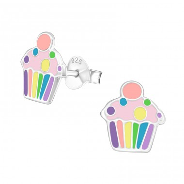 Cupcake - 925 Sterling Silver Colorful ear studs for kids A4S39856