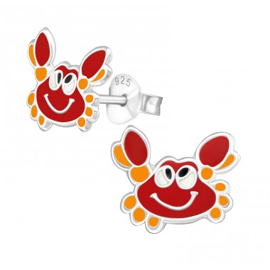 Red Crab face - 925 Sterling Silver Colorful Ear Studs For Kids A4S39858