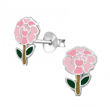 Carnation flower - 925 Sterling Silver Colorful Ear Studs For Kids A4S39859
