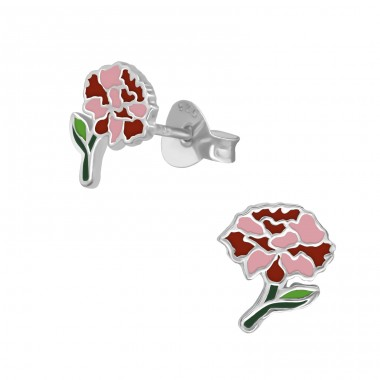 Carnation flower - 925 Sterling Silver Colorful Ear Studs For Kids A4S39867