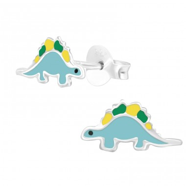 Dinosaur Diplodocus - 925 Sterling Silver Colorful Ear Studs For Kids A4S39870