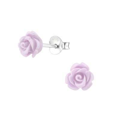 Rose flower - 925 Sterling Silver + Plastic Colorful Ear Studs For Kids A4S39875