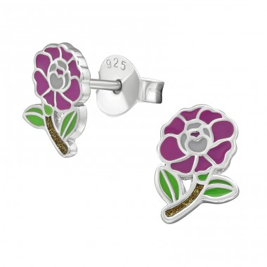 Flower - 925 Sterling Silver Colorful ear studs for kids A4S39876