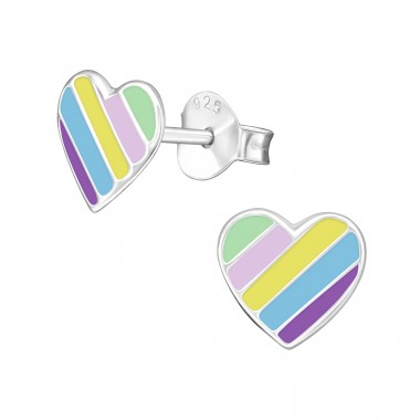 Heart multicolor - 925 Sterling Silver Colorful Ear Studs For Kids A4S39877