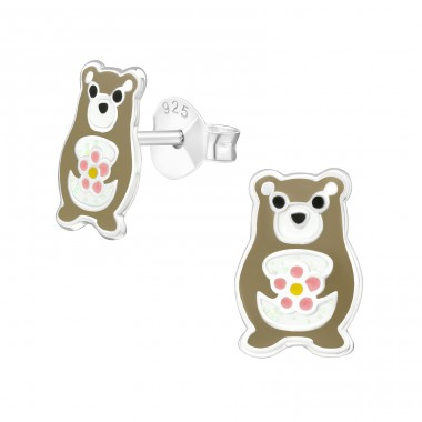 Bear - 925 Sterling Silver Ear studs with enamel colors A4S39932