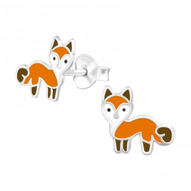 Fox - 925 Sterling Silver Ear studs with enamel colors A4S39933