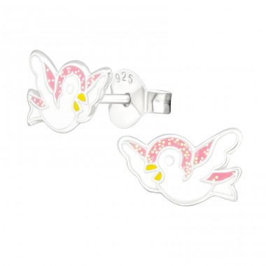 Bird - 925 Sterling Silver Ear studs with enamel colors A4S39934