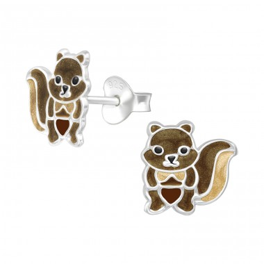 Squirrel - 925 Sterling Silver Ear studs with enamel colors A4S39936