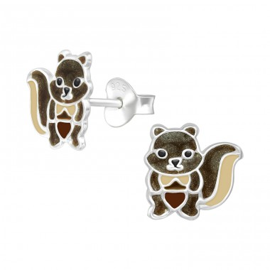 Squirrel - 925 Sterling Silver Colorful ear studs for kids A4S39936