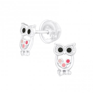 Owl - 925 Sterling Silver Ear studs with enamel colors A4S39937
