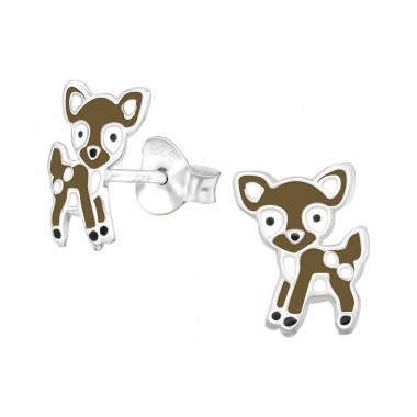 Deer - 925 Sterling Silver Ear studs with enamel colors A4S39939