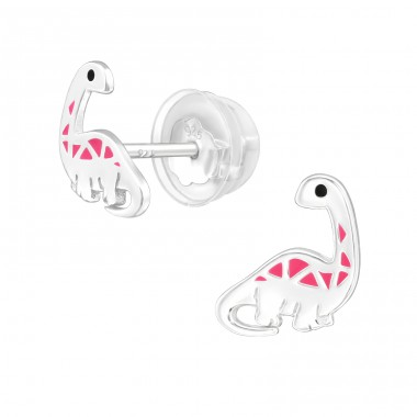 Dinosaur Diplodocus - 925 Sterling Silver Ear Studs With Enamel Colors A4S39940