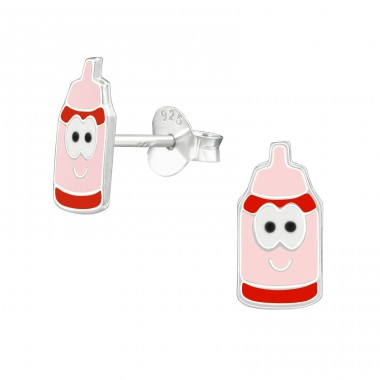 Milk Bottles - 925 Sterling Silver Colorful ear studs for kids A4S39943
