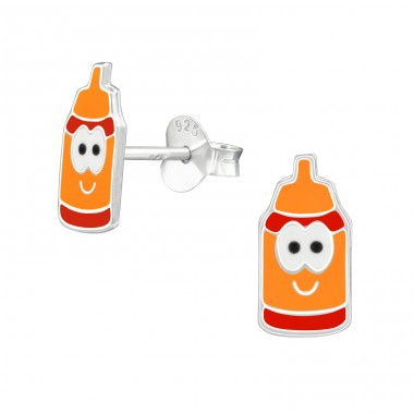 Milk Bottles - 925 Sterling Silver Colorful ear studs for kids A4S39944