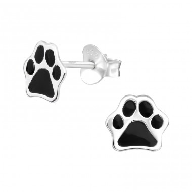 Paw Print - 925 Sterling Silver Ear studs with enamel colors A4S39946