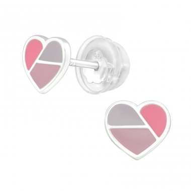 Heart 3 colors - 925 Sterling Silver Ear Studs With Enamel Colors A4S39959