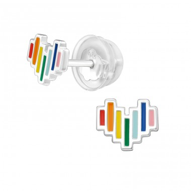 Heart - 925 Sterling Silver Ear studs with enamel colors A4S39964