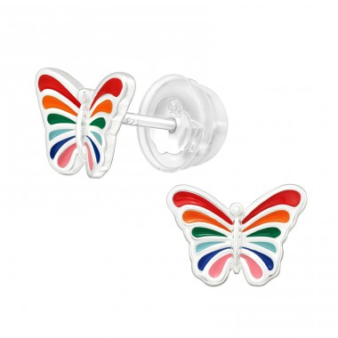 Butterfly in rainbow colors - 925 Sterling Silver Ear Studs With Enamel Colors A4S39966
