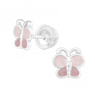 Pink Butterfly - 925 Sterling Silver Ear Studs With Enamel Colors A4S39985