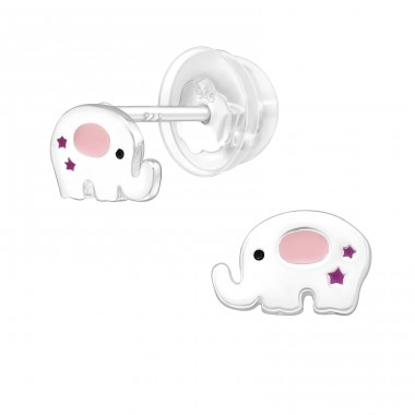 Elephant - 925 Sterling Silver Ear studs with enamel colors A4S39988