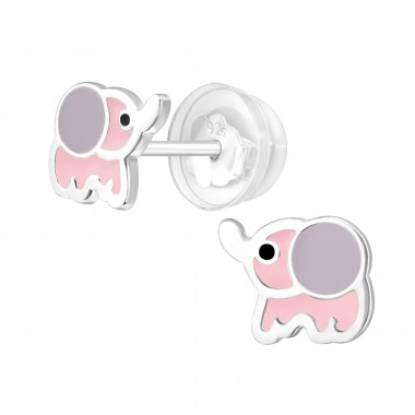 Pink Elephant - 925 Sterling Silver Ear Studs With Enamel Colors A4S39990