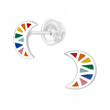 Colorful Moon - 925 Sterling Silver Ear Studs With Enamel Colors A4S40002