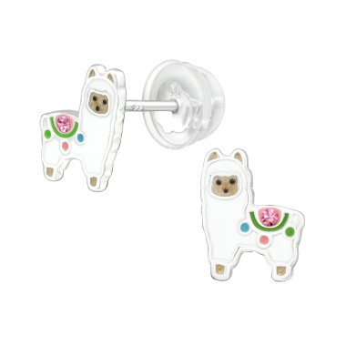 Alpaca - 925 Sterling Silver Ear studs with crystals A4S40068