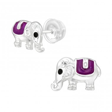 Elephant - 925 Sterling Silver Ear studs with enamel colors A4S40088