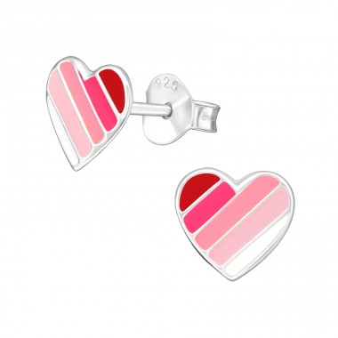 Heart - 925 Sterling Silver Ear studs with enamel colors A4S40281