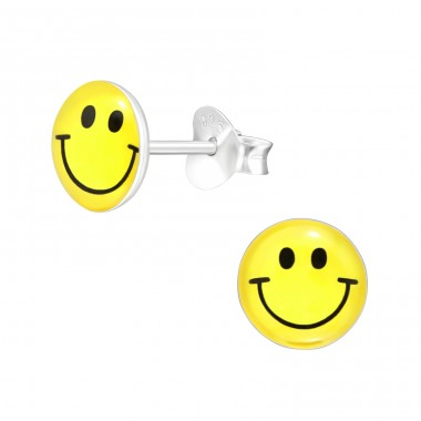 Smiley Emoji Face - 925 Sterling Silver Ear Studs With Enamel Colors A4S40297