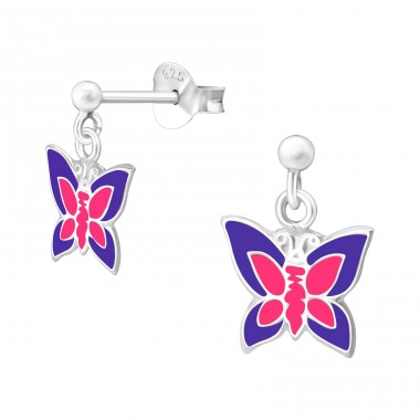 Hanging Butterfly - 925 Sterling Silver Colorful ear studs for kids A4S40302