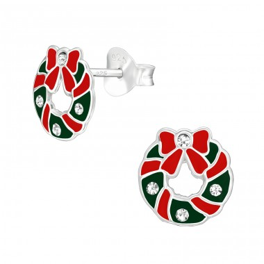 Wreath - 925 Sterling Silver Ear studs with crystals A4S40313