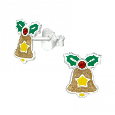 Colorful Bell with crystal - 925 Sterling Silver Ear Studs With Crystals A4S40317